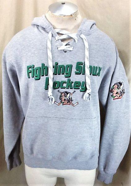 North Dakota Fighting Sioux Hockey (Small) Retro NCAA Old Logo Hooded Gray Sweatshirt