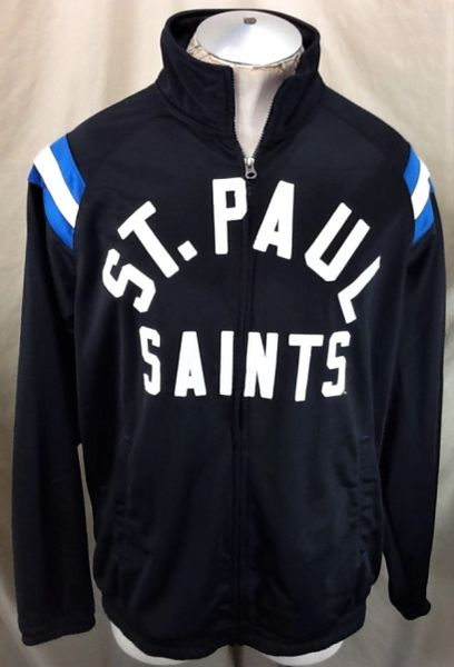 "St. Paul Saints Baseball Club ""Spell Out"" (Large) Retro Zip Up Black Track Jacket"
