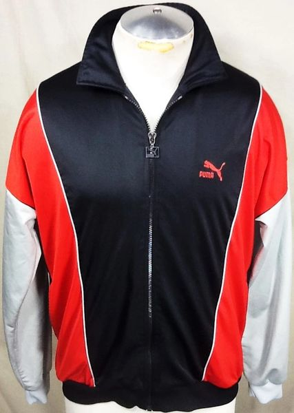 Vintage 90's Puma Active Wear (Large) Retro Long Sleeve Full Zip Up Track Jacket