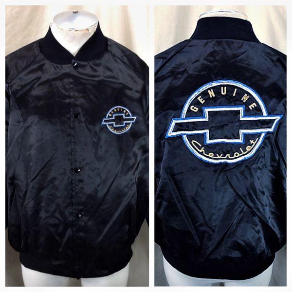 Vintage 80's Genuine Chevrolet Automobiles (XL) Retro Chevy Snap Up Satin Jacket