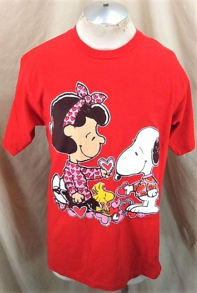 "Vintage 90's Snoopy & Woodstock ""Valentines Day"" (Large) Retro Peanuts Cartoon T-Shirt"