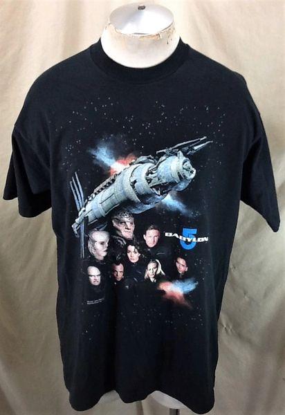 Vintage 1994 Warner Bros Babylon 5 (XL) Retro Sci-FI Graphic TV Show Black T-Shirt