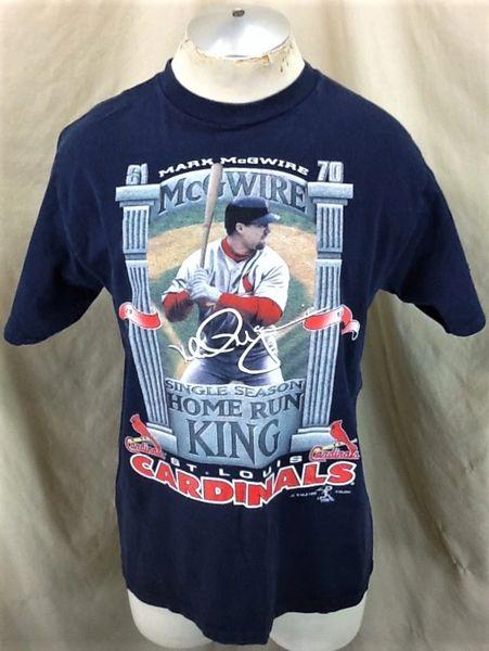 "Vintage 1998 Mark McGwire ""Home Run King"" (Large) Retro St. Louis Cardinals Baseball T-Shirt"
