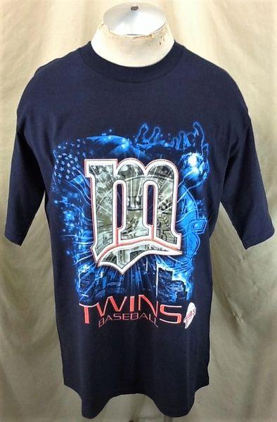 Vintage 2001 Minnesota Twins Baseball Club (Large) Retro MLB Graphic T-Shirt Navy Blue