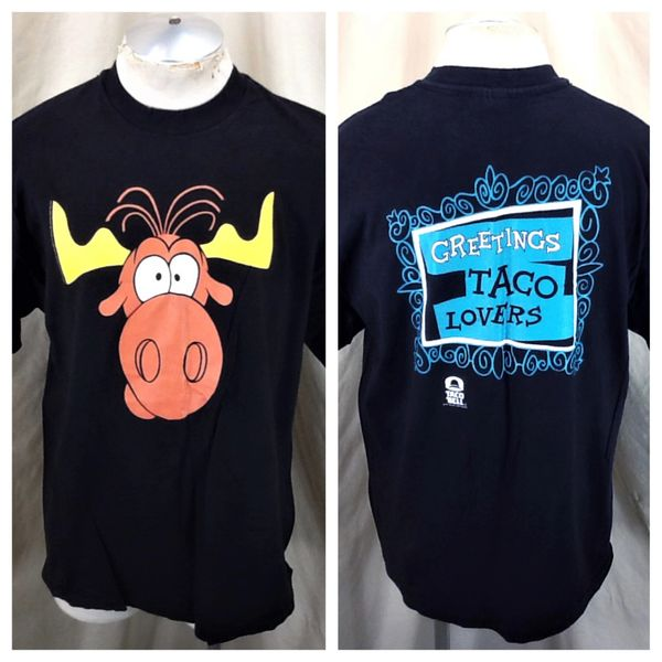 """Vintage 1993 Rocky And Bullwinkle (XL) Taco Bell """"Greetings Taco Lovers"""" Graphic T-Shirt"""