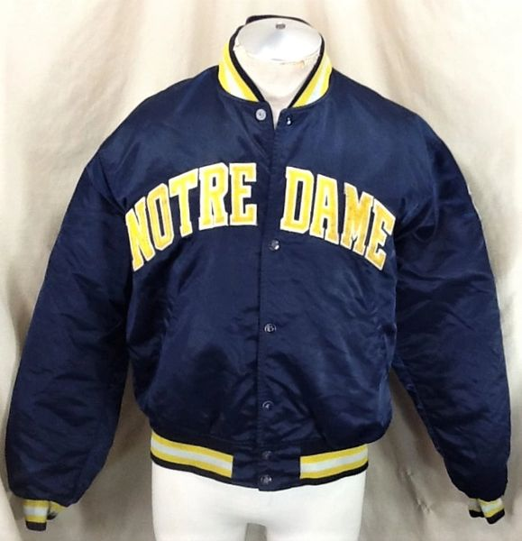 Vintage 80's Starter Notre Dame Fighting Irish (Large) Retro NCAA Embroidered Snap Up Satin Jacket
