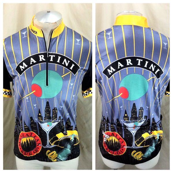 "Vintage Sugoi Racing Team ""Martini"" (Large) Retro Manhattan Pullover 1/2 Zip Up Bike Jersey"
