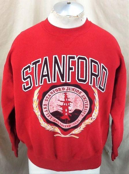 Vintage 80's Champion Stanford University (Large-Short Length) NCAA Crew Neck Sweatshirt