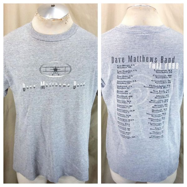 Vintage 1998 Dave Matthews Band (Large) Retro Fall Tour Graphic Rayon Gray T-Shirt