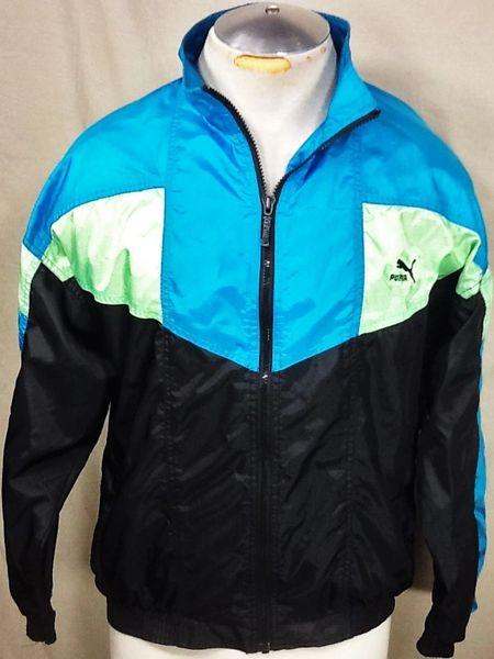 """Vintage 90's Puma """"Full Zip Up"""" (Med) Retro Hooded Light Weight Windbreaker Jacket"""