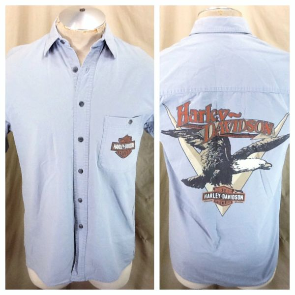 "Vintage Harley Davidson ""An American Legend"" (Small) Button Up Motorcycle Shop Shirt"
