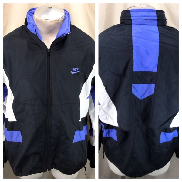 Vintage 90's Retro Nike Active Wear (L/XL) Zip Up Hooded Windbreaker Nylon Jacket