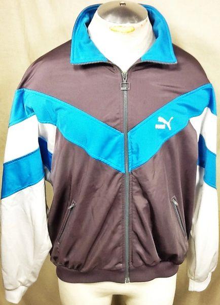 Vintage 90's Puma Athletic Workout Wear (XL) Retro Full Zip Up Long Sleeve Track Jacket