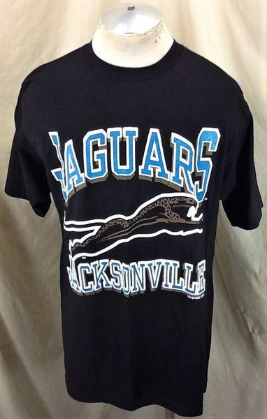 Vintage 1993 Jacksonville Jaguars Football Club (Large) Retro NFL Graphic Black T-Shirt