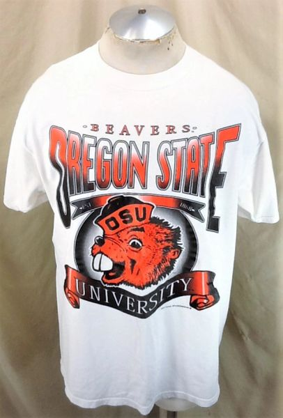 Vintage 90's Tultex Oregon State Beavers (L/XL) Retro NCAA Apparel Graphic White T-Shirt