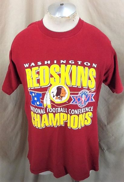 Vintage 1992 Washington Redskins Super Bowl Champions (Large) Retro NFL Football Graphic Red T-Shirt