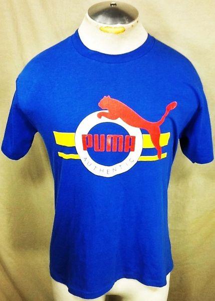 Vintage 90's Puma Athletic Wear (Med/Large) Retro Workout Gear Graphic T-Shirt Blue