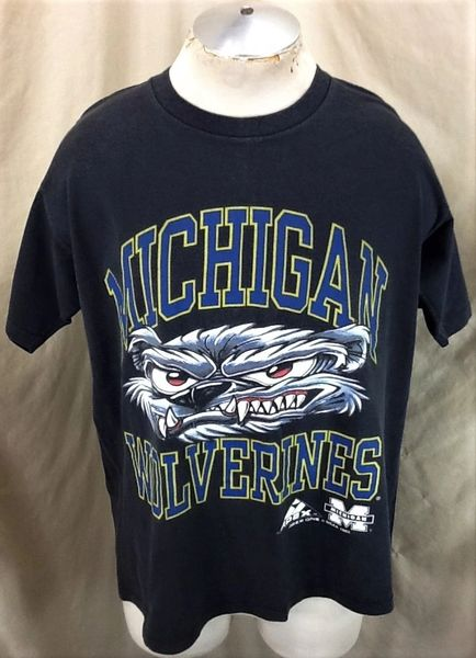 Vintage 1993 Apex One Michigan Wolverines (L/XL) Retro NCAA Apparel Graphic Black T-Shirt