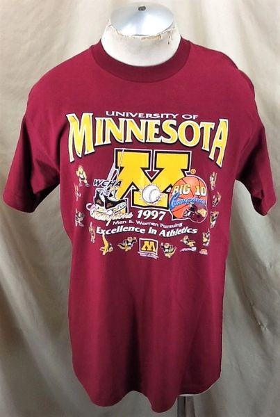 "Vintage 1997 Minnesota Gophers ""Excellence In Athletics"" (Large) Retro NCAA Graphic T-Shirt"
