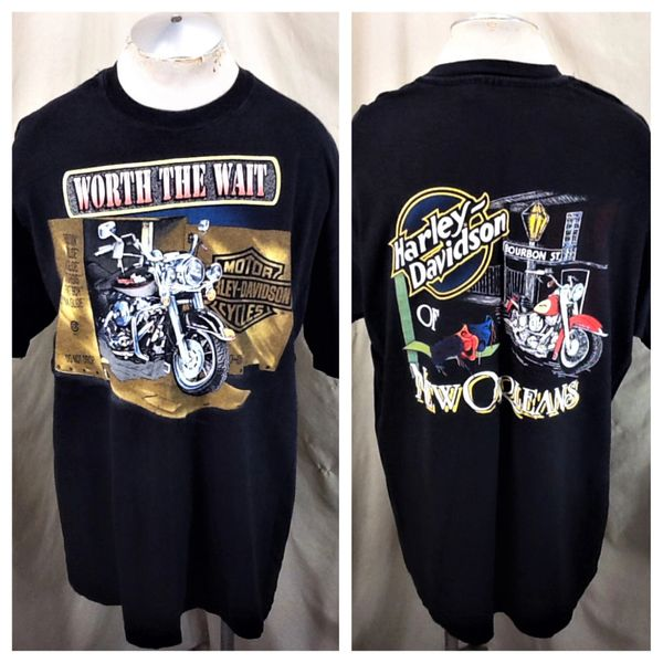 Vintage 90's Harley Davidson Motorcycles (2XL) Retro New Orleans Harley Graphic T-Shirt
