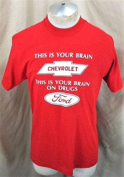"Vintage 90's Chevrolet ""This Is Your Brain"" (Large) Retro Chevy Funny Graphic T-Shirt"