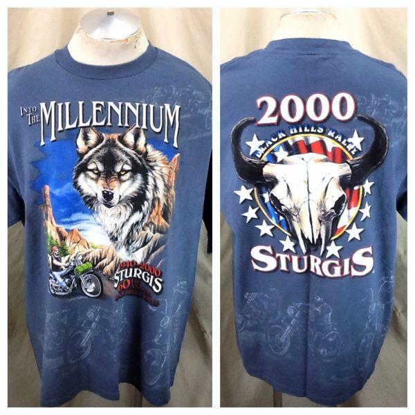 "Vintage 2000 Sturgis 60th Annual Black Hills Rally (2XL) Retro ""Into The Millennium"" Gear Heads Graphic T-Shirt"