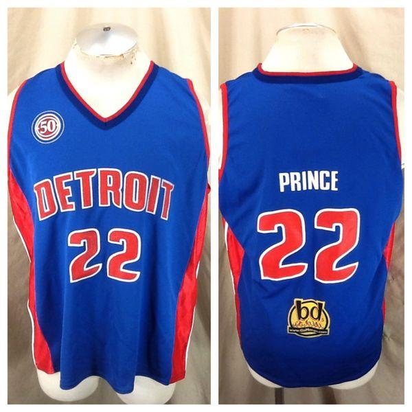 New! Vintage Detroit Pistons Tayshaun Prince #22 (Large) Retro NBA Promo Graphic Basketball Jersey