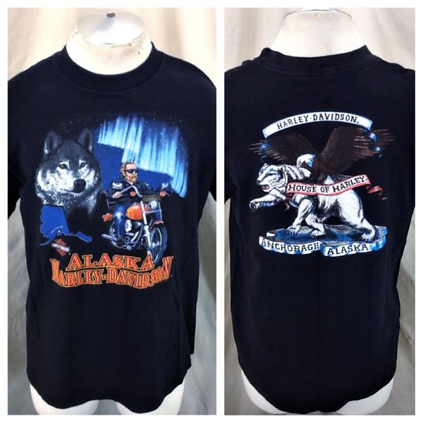 Vintage 1995 Harley Davidson Motorcycles (Large) Retro Anchorage Alaska Black T-Shirt