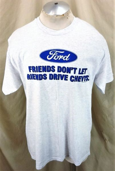 "Vintage 90's Ford ""Friends Don't Let Friends Drive Chevy's"" (Large) Retro Gear Heads T-Shirt"