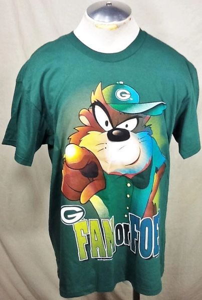 "Vintage 1995 Green Bay Packers Football (Large) Retro NFL ""Taz"" Graphic Green T-Shirt"