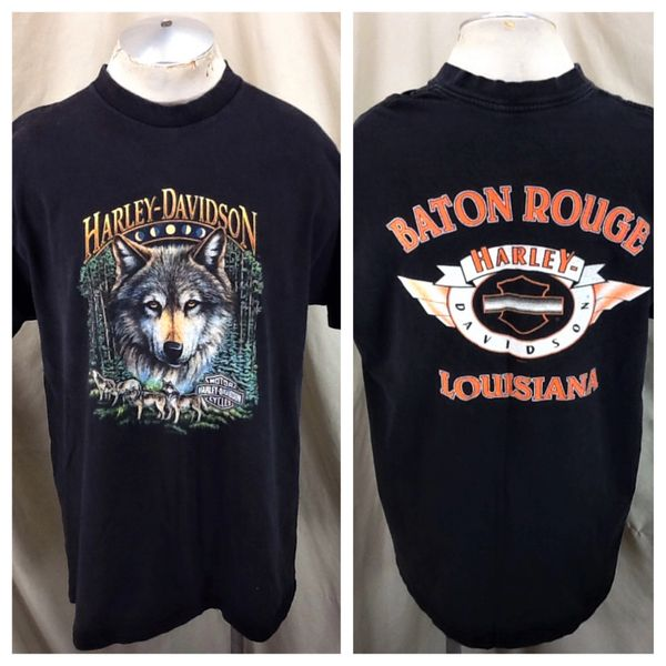 Vintage 1998 Harley Davidson Motorcycles (2XL) Retro Baton Rouge Graphic T-Shirt