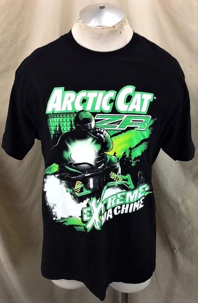 "Vintage Arctic Cat ZR ""Extreme Machine"" (Large) Retro Snowmobiles Graphic T-Shirt Black"