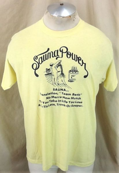 "Vintage 80's Sauna Power ""Team Bath"" (L/XL) Retro Single Stitch Humorous Graphic T-Shirt"