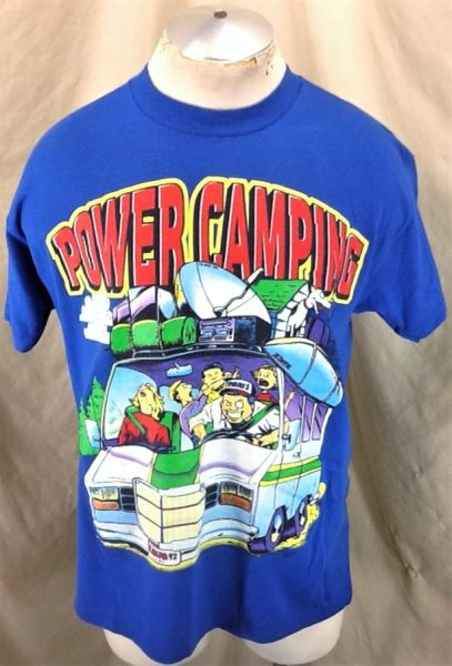 "Vintage 1992 Outdoorsman ""Power Camping"" (Large) Retro Humor Single Stitch T-Shirt Blue"