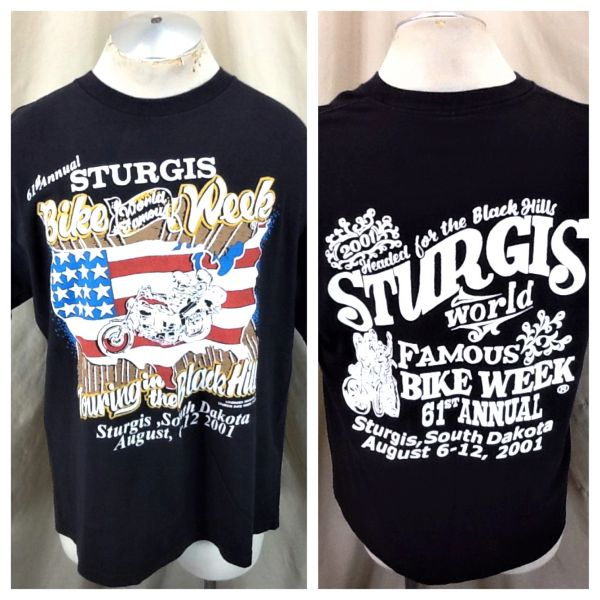 Vintage 2001 Sturgis Bike Week (XL) Retro 61st Annual Black Hills Bike Rally Black T-Shirt