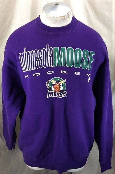 Vintage 90's Minnesota Moose Hockey (XL) Retro IHL Classic Logo Crew Neck Sweatshirt