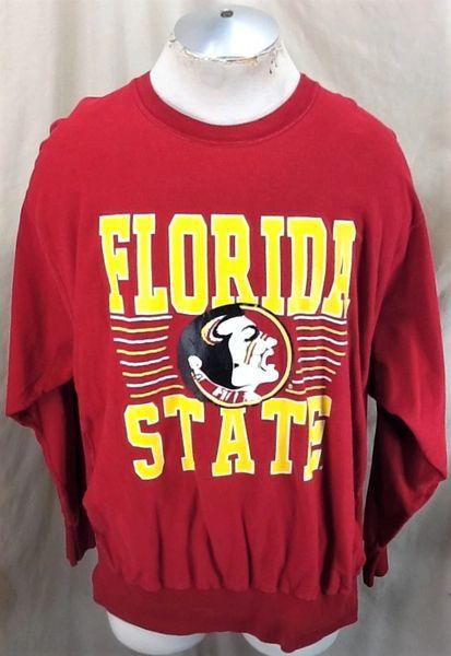 Vintage 90's Florida State Seminoles (XL) Retro NCAA Knit Long Sleeve Maroon T-Shirt