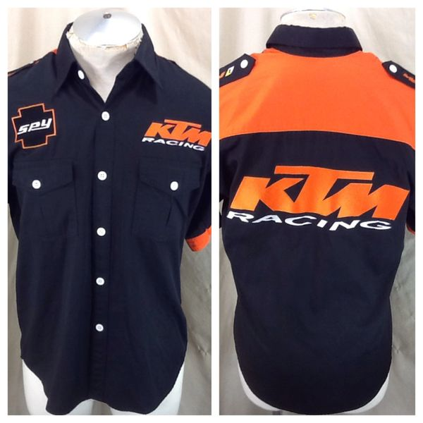 """Red Bull KTM Factory Racing """"Spy"""" (Large) Retro Button Up Graphic Black Shop Shirt"""