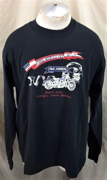 Vintage 1994 Sturgis Motorcycle Rally (XL) Retro Black Hills Bike Rally Long Sleeve Shirt