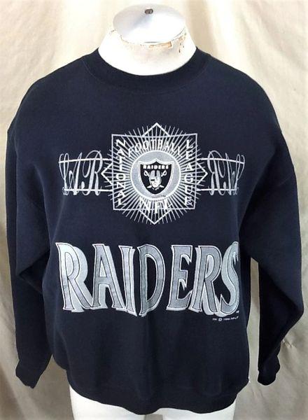 Vintage 1992 Oakland Raiders Football Club (XL/2XL) Retro NFL Graphic Crew Neck Sweatshirt Black