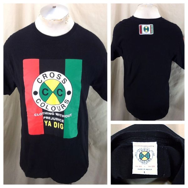 "Vintage 90's Cross Colours ""Ya Dig"" (Large) Clothing Without Prejudice Graphic Rap T-Shirt"