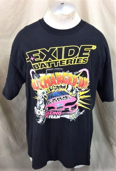 "Vintage 90's Exide Batteries Jeff Burton#99 (XL) NASCAR ""All Charged Up"" Graphic T-Shirt"