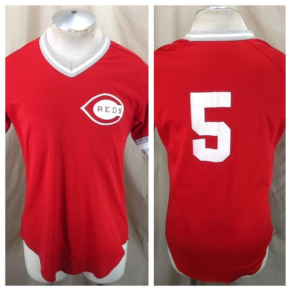 Vintage 80's Wilson Cincinnati Reds #5 Baseball Club (Med/Large) Retro MLB Graphic Poly Jersey