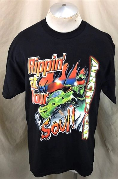 """Vintage Arctic Cat """"Rippin' At Your Soul!"""" (Large) Retro Snowmobiling Graphic Black T-Shirt"""