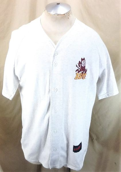 Vintage 90's Arizona State Sun Devils (XL) Retro NCAA Button Up Cotton Jersey Gray