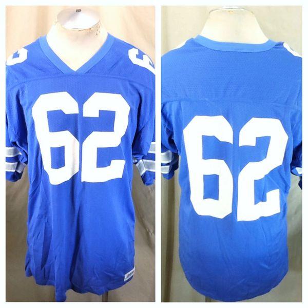 Vintage Steichen's Detroit Lions #62 (XL Long) Retro NFL Football Nylon Honolulu Blue Jersey