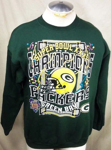 Vintage 1996 Green Bay Packers Football (Large) Retro NFL Super Bowl Champions Crew Neck Sweatshirt