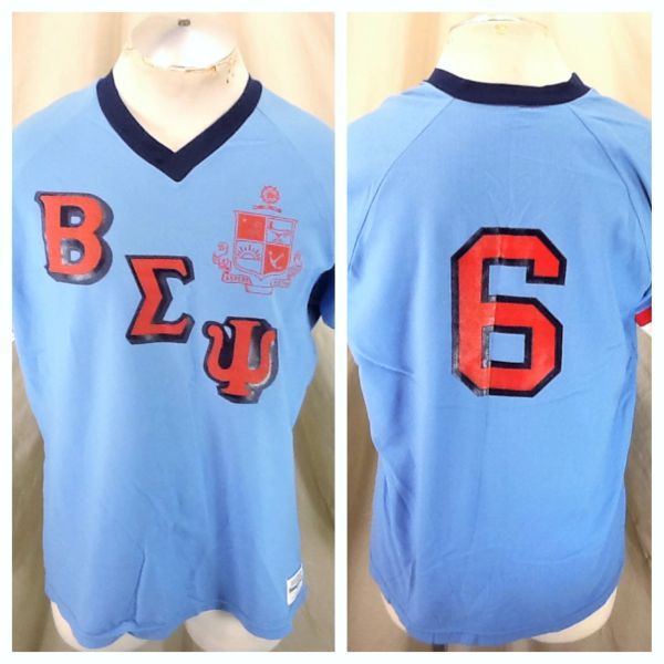 Vintage 80's Sand Knit Beta Sigma Psi #6 (XL) Retro Pullover Powder Blue Poly Jersey