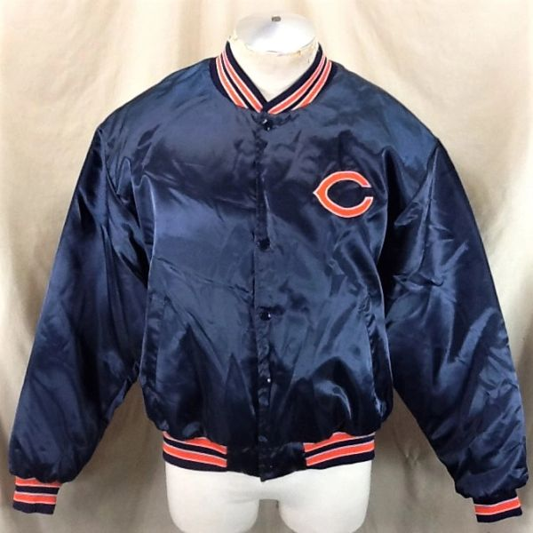 Vintage 80's Swingster Chicago Bears Football Club (XL) Retro NFL Snap Up Satin Jacket