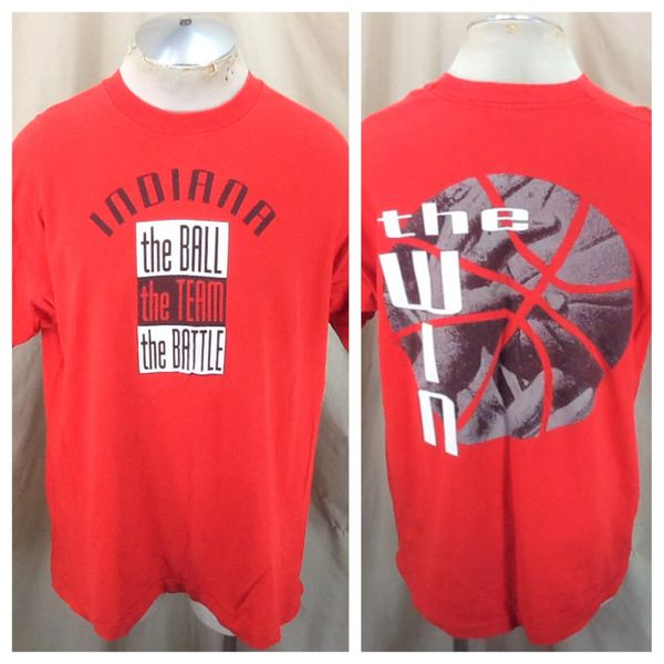 """Vintage 90's Indiana Hoosiers """"The Win"""" (XL) Retro NCAA Basketball Graphic Red T-Shirt"""
